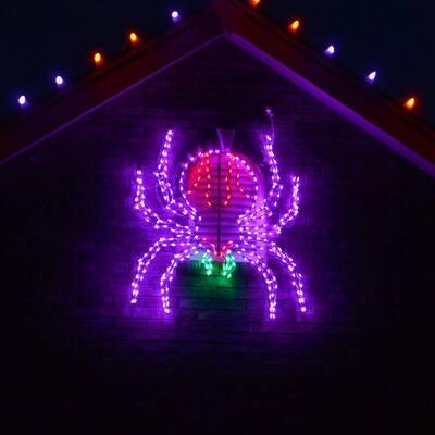 48 in. x 40 in. Creepy Crawling Spider Indoor/Outdoor LED Halloween Window Light
