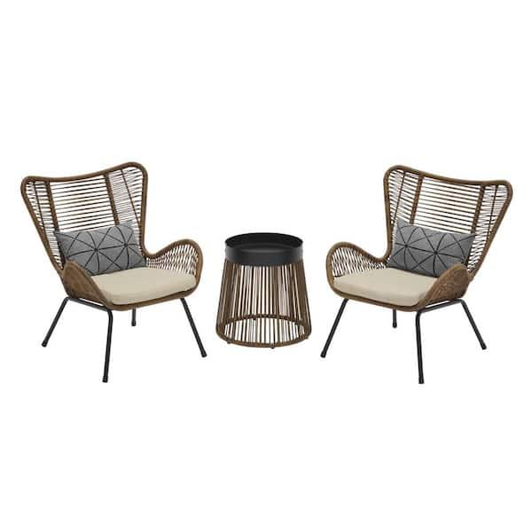 Stylewell Clover Brook 3 Piece Wicker, 3 Piece Wicker Patio Conversation Set With Beige Cushions