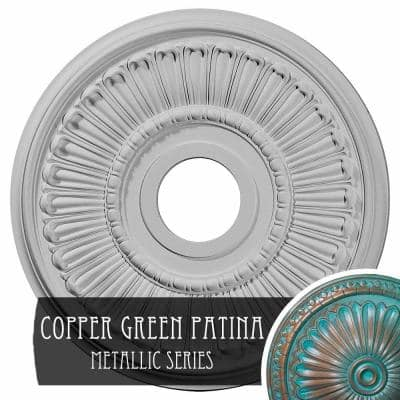 3/4 in. x 16 in. x 16 in. Polyurethane Melonie Ceiling Medallion, Copper Green Patina