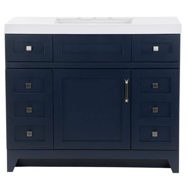 St Paul Rosedale 42 In W X 19 In D Bathroom Vanity In Blue With Cultured Marble Vanity Top In White With White Sink Rd42p2 Bu The Home Depot