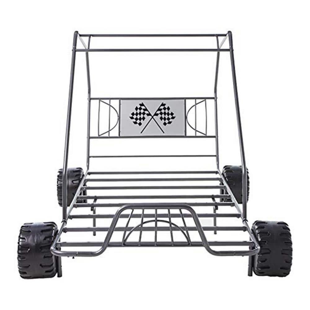 Homeroots Amelia Gray Gunmetal Twin Go Kart Bed 285318 The Home Depot