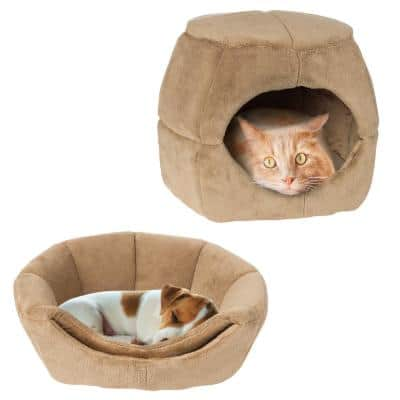 Small Tan 2-in-1 Convertible Pet Bed with Enclosed Cave