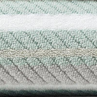 Ocean Bay 3-Piece Aqua Striped Cotton Bath Towel Set