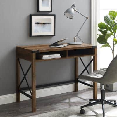 42 in. Rectangular Reclaimed Barnwood Writing Desks with Built-In Storage