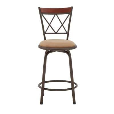 24-29 in. H Adjustable Bronze Double X-Back With Brown Wood Trim 3-Piece Pack Stools