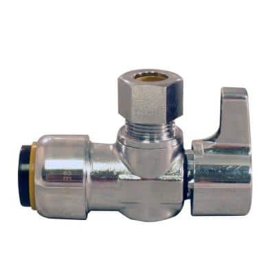 1/2 in. Chrome-Plated Brass Push-to-Connect x 3/8 in. Compression Quarter-Turn Angle Stop Valve