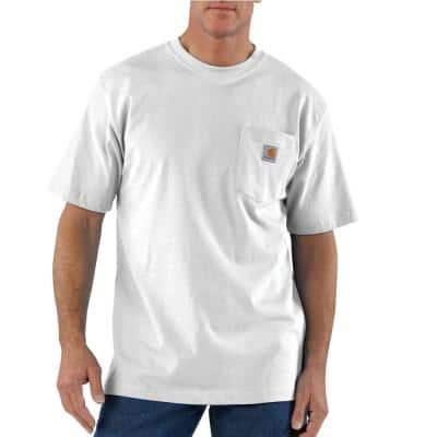 Men's 4X-Large Tall White Cotton Workwear Pocket Short Sleeve T-Shirt Mid Weight Jersey Original Fit