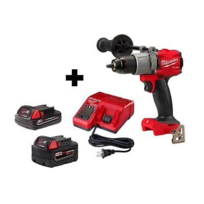 M18 FUEL 18-Volt Lithium-Ion Brushless Cordless 1/2 in. Hammer Drill/Driver w/ (1) 5.0 Ah, (1) 2.0 Ah Battery & Charger