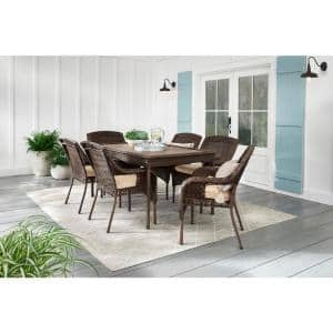 Cambridge 7-Piece Brown Wicker Outdoor Patio Dining Set with CushionGuard Toffee Trellis Tan Cushions