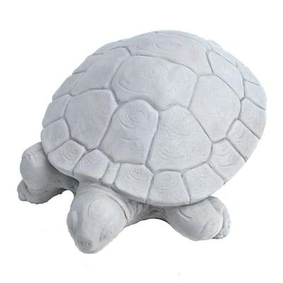 Cast Stone Water Turtle Garden Statue - Antique Gray
