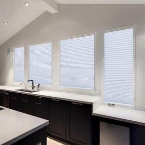 Easy Lift Cut-to-Size White Cordless Room DarkeningFabricPleated Shades 36 in. W x 64 in. L