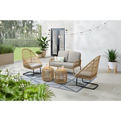 Sierra Creek Tan 5-Piece Wicker Outdoor Patio Conversation Deep Seating Set with CushionGuard Stone Gray Cushions
