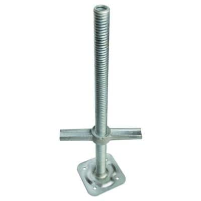 24 in. Adjustable Leveling Jack in Galvanized Steel with Base Plate for Scaffolding Frames