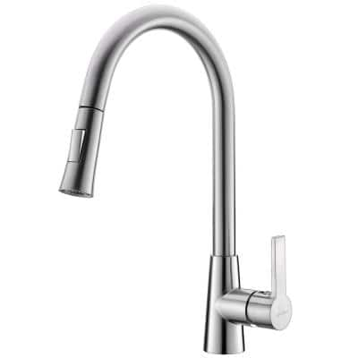 Danube Single-Handle Pull-Out Sprayer Kitchen Faucet in Brush Nickel