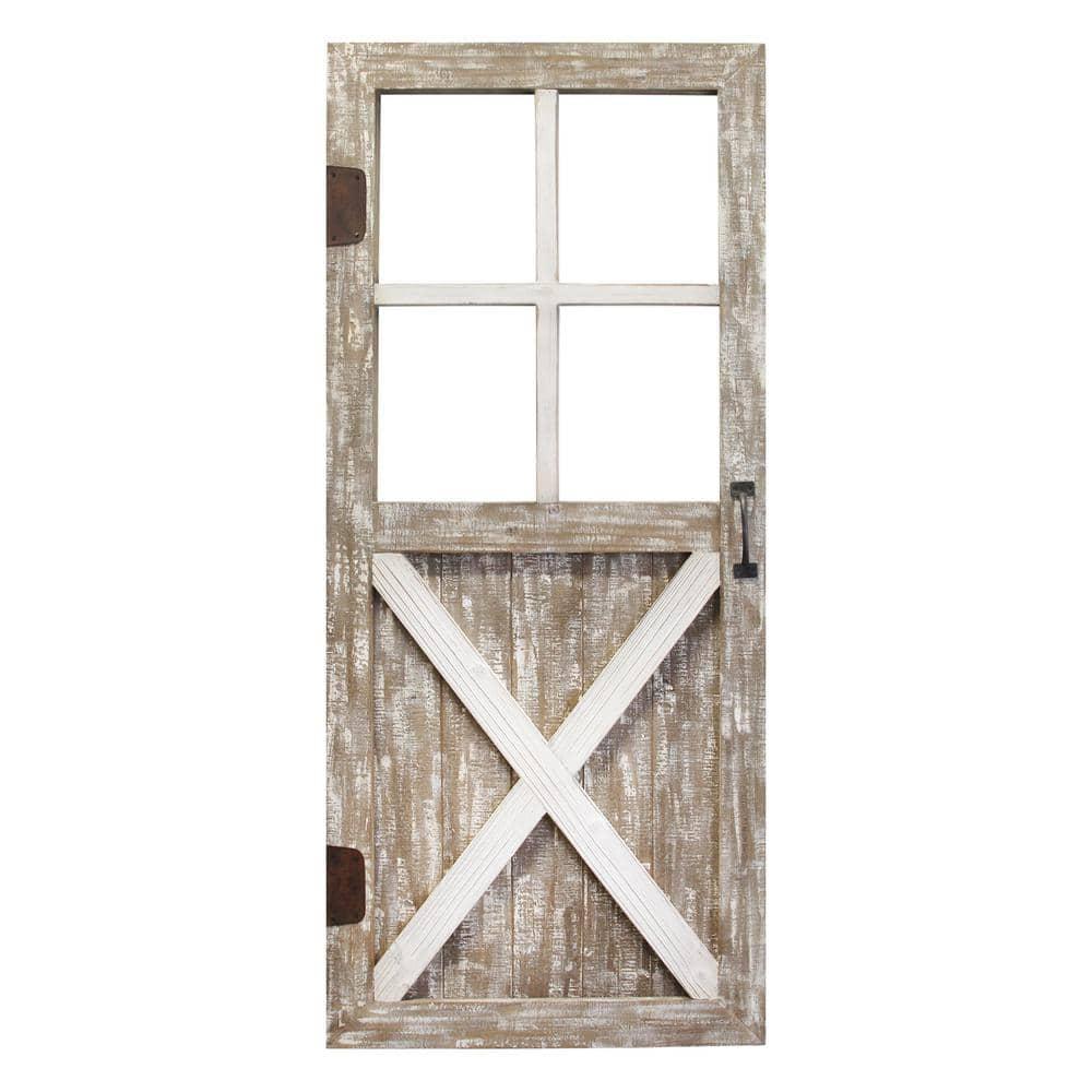Stratton Home Decor Wooden Barn Door Wall Decor S32   The Home Depot