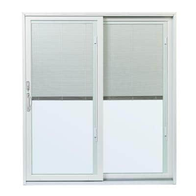 70-1/2 in.x79-1/2 in. 200 Series Right-Hand Perma-Shield Gliding Patio Door w/ Built-In Blinds and Satin Nickel Hardware