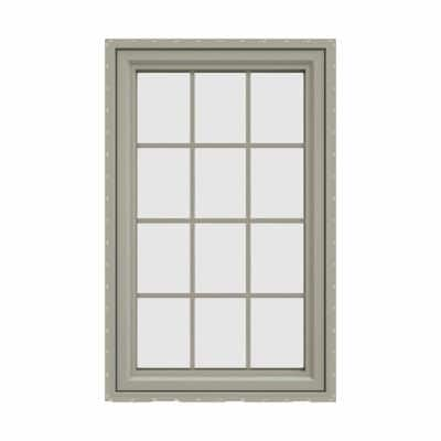 35.5 in. x 47.5 in. V-4500 Series Desert Sand Vinyl Left-Handed Casement Window with Colonial Grids/Grilles