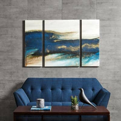 Rolling Waves Gel Coated Canvas Wall Art (Set of 3)