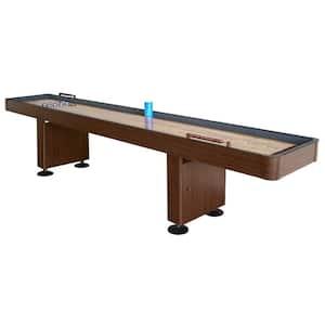 Challenger 12 ft. Shuffleboard Table w Walnut Finish, Hardwood Playfield, Storage Cabinets