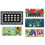 22 in. x 10 in. Spring and Summer Sassafras Switch Mat Collection w/ Decorative Rubber Frame (Set of 5)