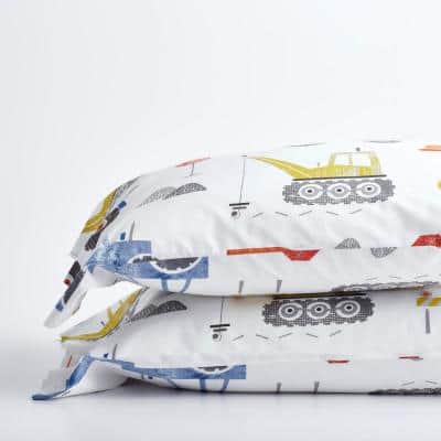 Construction Zone Multicolored Graphic 200-Thread Count Organic Cotton Percale Standard Pillowcase (Set of 2)