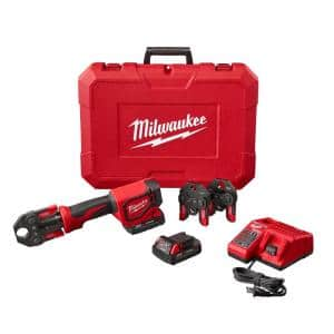 M18 18-Volt Lithium-Ion Cordless Short Throw Press Tool Kit with 3 PEX Crimp Jaws (2) 2.0 Ah Batteries and Charger