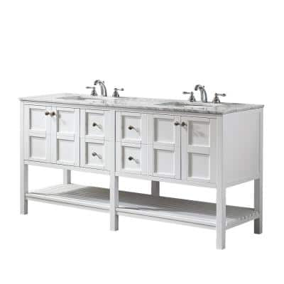 Florence 72 in. W x 22 in. D x 35 in. H Vanity in White with Marble Vanity Top in White with Basin