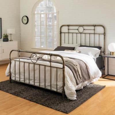 Rustic Bohemian Metal Pipe Queen Bed-Antique Bronze