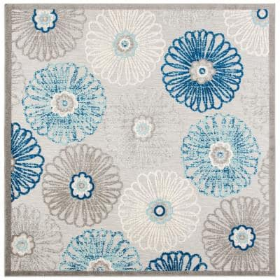 Cabana Gray/Blue 3 ft. x 3 ft. Border Floral Indoor/Outdoor Square Area Rug