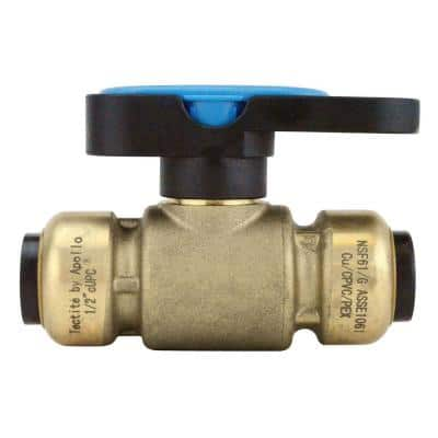 1/2 in. Brass Push-To-Connect Compact Ball Valve with Lockable Handle