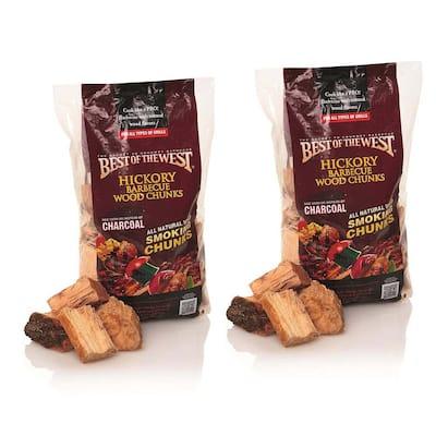 1/5 cu. ft. Bag of Natural Smoking Lump Charcoal/Wood Chunks, Hickory (2-Pack)
