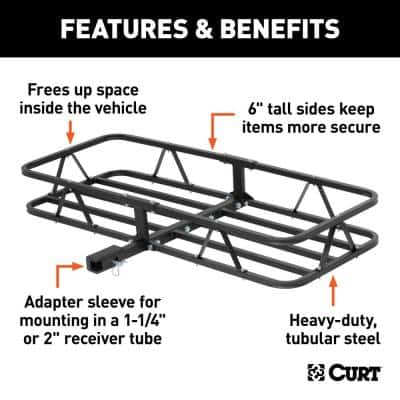 500 lb. Capacity 48 in. x 20 in. Steel Basket Style Hitch Cargo Carrier for 2 in. Receiver with Adapter Sleeve