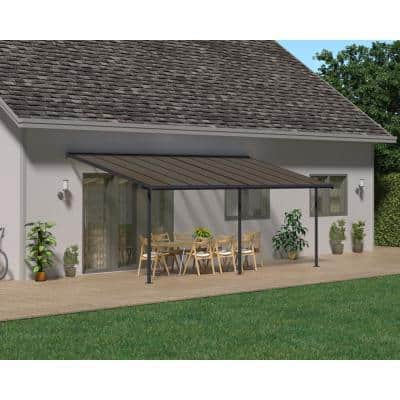 Sierra 10 ft. x 20 ft. Gray/Bronze Patio Cover Awning