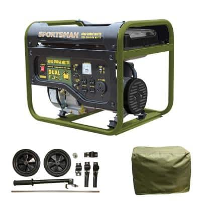 4,000-Watt/3,500-Watt Recoil Start Dual Fuel Powered Portable Generator with Protective Cover and Wheel Kit