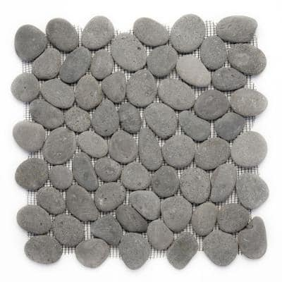 River Rock Gray 12 in. x 12 in. x 12.7 mm Natural Stone Pebble Mosaic Floor and Wall Tile (10 sq. ft. / case)