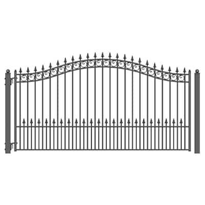 Prague Style 14 ft. x 6 ft. Black Steel Single Swing Driveway Fence Gate