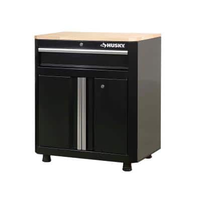 Ready-to-Assemble 24-Gauge Steel 1-Drawer 2-Door Garage Base Cabinet in Black (28 in. W x 33 in. H x 18 in. D)