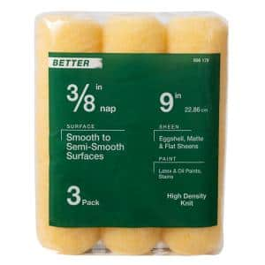 9 in. x 3/8 in. High-Density Polyester Knit Paint Roller Cover (3-Pack)