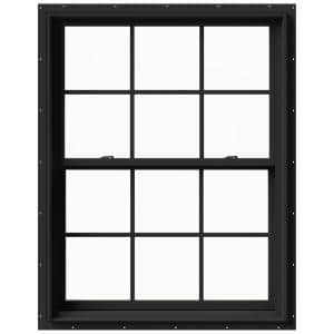 37.375 in. x 48 in. W-2500 Series Bronze Painted Clad Wood Double Hung Window w/ Natural Interior and Screen