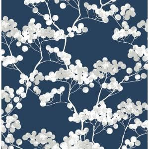 Cyprus Blossom Navy Blue And Grey Floral Vinyl Peel & Stick Wallpaper Roll (Covers 30.75 Sq. Ft.)
