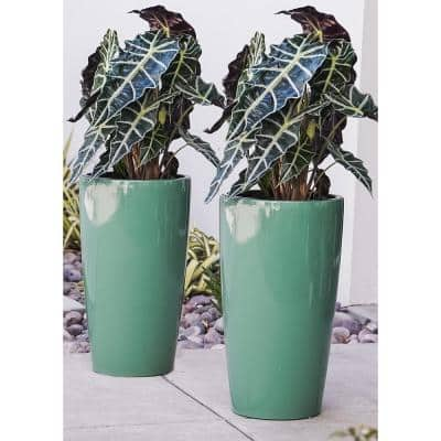 Xbrand 17 in. Tall Turquoise Plastic Nested Self Watering Indoor/Outdoor Round Planter Pot w/ Glossy Finish (Set of 2)
