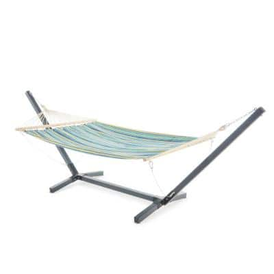 Aspen 10.3 ft. Portable Quilted Hammock Bed with Stand in Grey, Blue and Yellow