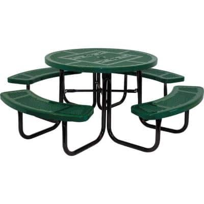 46 in. Green Dog Park Commercial Round Perforated Punch Table