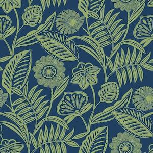 Alma Blue Tropical Floral Blue Wallpaper Sample