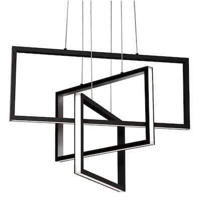 Cole 36-Watt Integrated LED Black Pendant with Acrylic Shade