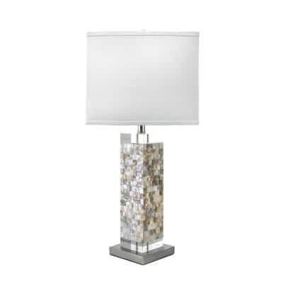 Houston 29 in. Satin Nickel & White Contemporary Table Lamp, Dimmable