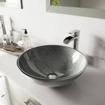 Glass Round Vessel Bathroom Sink in Silver with Niko Faucet and Pop-Up Drain in Brushed Nickel