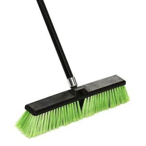 18 in. Green Indoor Outdoor Multi-Surface Push Broom (3-Pack)