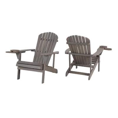 Classic Dark Grey Wood Adirondack Chair (2-Pack)
