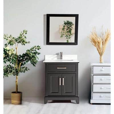 Genoa 30 in. W x 22 in. D x 36 in. H Bath Vanity in Espresso with Vanity Top in White with White Basin and Mirror